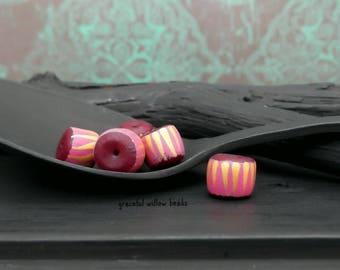 Striped Polymer Mini Rondelle Bead - Pink Dark Plum Gold Stripe - Handmade Modern Bohemian Bead - 6-7mm - Pkg. 6