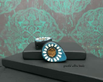 Floral Polymer Teardrop Bead - Teal Black Bronze Ivory - Bohemian Floral Teardrop Bead Pair - 18x13mm - Pkg. 2