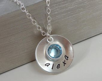 SALE - Sterling Silver Hand Stamped Mommy Necklace - Domed Disc Necklace with Swarovski Crystal Birthstone