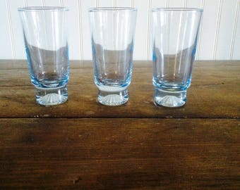 Three Vintage Blue Bar Glass Cocktail Shot Glass Port Glass