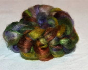 Hand Dyed Mohair Roving Fine Quality 90/10% Mohair/ wool top 4.25 oz  PURPLE MOUNTAIN