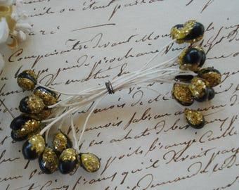 1 Bundle Vintage French Unique Black Gold Metallic Double Millinery Flower Stamens Pips Antique Ribbonwork Hat Flapper Doll Hat Trim