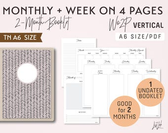 A6 Monthly-Weekly on 4 Pages Vertical Unlined Printable Booklet Insert - Good for 2 Months