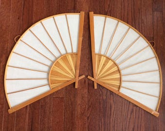 pair of large bamboo Asian fans wall hanging