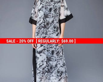 Maxi dresses for women, chiffon dress, print dress, floral dress, prom dress, summer dress, long dress, loose dress, casual dress C942