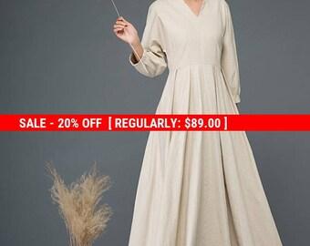 Maxi dress,  dress, linen dress, causal dress, pleated dress, day dress, fit and flare dress, v neck dress, autumn dress, womens dress C1154
