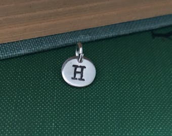 Tiny Silver Initial Charm, Tiny Silver Monogram Pendant