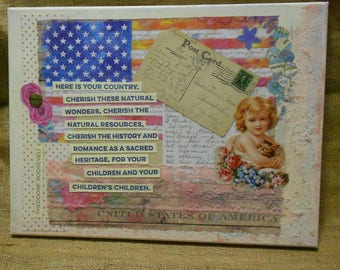 "Mixed Media Art Collage on Canvas ""Cherish Your Country"" Original Art**"