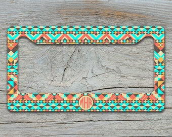 Custom front car tag cover or frame, Aztec tribal light aqua tan, Monogram license plate frame, Personalized gifts for women present (1272)