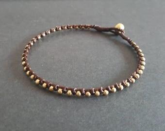 Single  Knot Brass Beads  Anklet