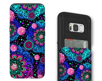 Colorful Paisley Galaxy S8 Card holder Case - Frilly Floratopia - Credit Card Case for Samsung Galaxy S8 with Rubber Sides by Da Vinci Case