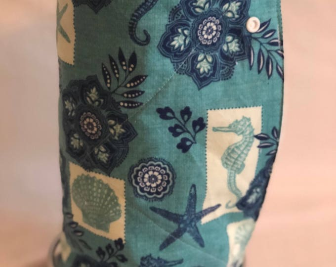 Unpaper towels, Roll of 12 seahorse seashell cotton terry cloth kitchen towels, Snap together towels, cotton napkins, Reusable paper towels