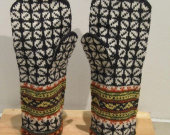 Gloves, hand knitted, wool mittens, men mittens, natural wool, black, gray, green,,blue, red, orange,