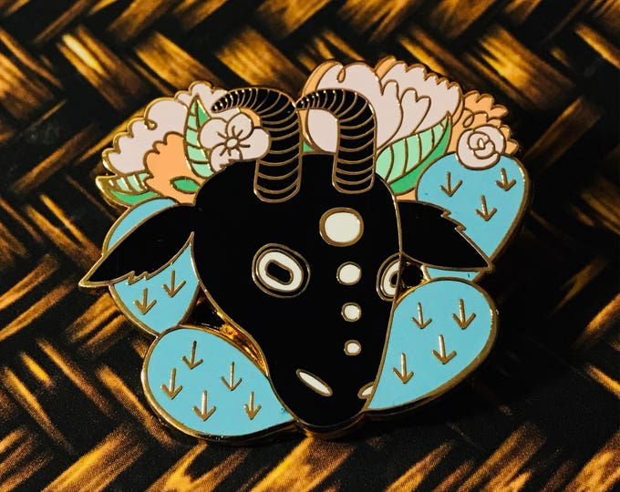 Goat with Cactus and Flowers Desert, Color or Black and White Pin. Animal.