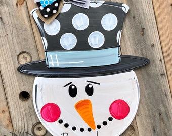 snowman winter Door Hanger handpainted