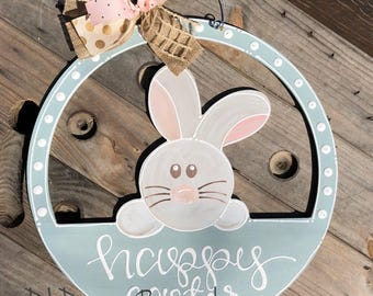 Easter bunny door hanger hand lettered