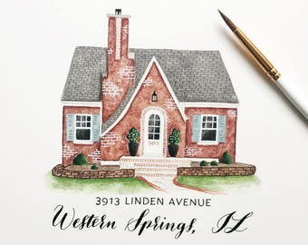 Custom Home Painting Personalized Watercolor Portrait on Paper Fine Art from Photo