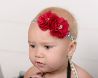 Red Headband, Infant Headband, Baby Headband, Newborn Headband, Dark Red Headband, Deep Red Baby Headband, Red Headband on Glitter Elastic