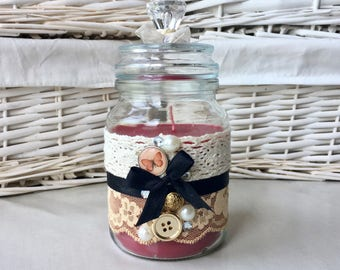 Handpoured scented candle in decorative upcycled jar