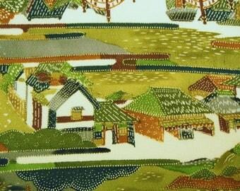 Edo Landscape Vintage Japanese Tango chirimen silk kimono fabric