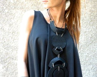 SALE NEW Hot Collection Black Extravagant Genuine Limited Edition Croco Leather Necklace / Unique Handmade Necklace by AAKASHA A16432