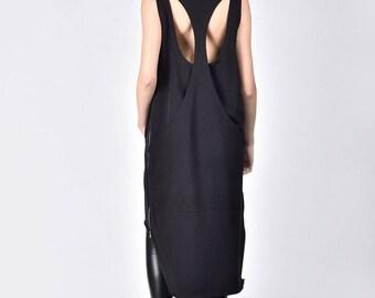 New  Maxi Black Racer Back Dress / Cotton Extravagant side zipper dress /Racer Back Tunic Dress with pockets A90199