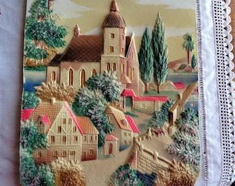 Vintage Calendar Die Cut Bavarian Village Scene Nice Condition
