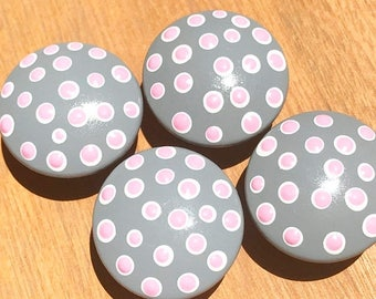 Huge Summer Sale CLEARANCE Gray Knobs with Pastel Pink Polka Dots Drawer Knobs for Dresser Drawers Closet Doors great for girls room or nurs
