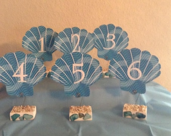 Sea Shell Table Numbers...Beach Wedding...Event...Destination Wedding...Set of 6 With Holders