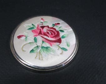 vintage petit point needlepoint rose hand purse travel mirror