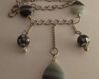 Pearl drop necklace Amazonite and black shell