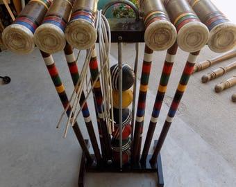 Vintage Croquet Game Set  Complete  Plastic Mallet Heads