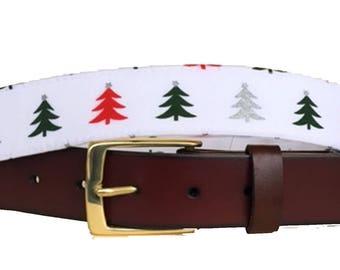 Christmas Tree Leather Belt /Ugly Christmas Sweater Belt/Leather Belt /Canvas Belt /Preppy Belt for Men/Solo Christmas Tree Leather Belt