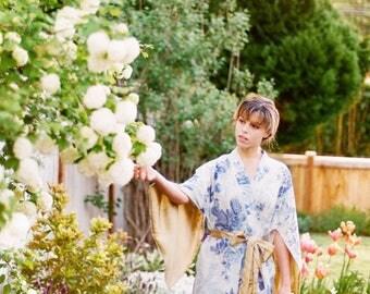 "One ready made ""Haiku"" sleeve robe with pockets. Long bohemian kimono robe Wedding robe Art Deco robe Valentines day gift US size 4-6."