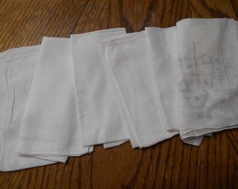 6 Vintage White handkerchiefs or hankies