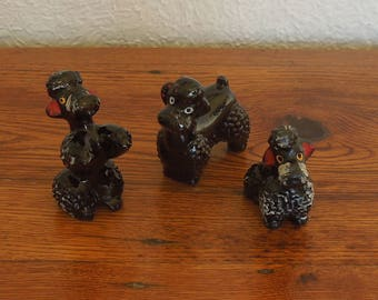 Vintage Redware Poodle Figurines Lot of 3