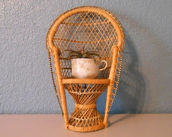 Vintage large peacock chair. Wicker chair, Jungalow, Bohemian decor, Vintage wicker, Miniature chair, Doll chair, Plant stand