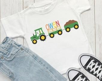 Boys Tractor TShirt, personalized boys t-shirt, Tractor shirt for boys, Tractor Birthday shirt, gift for a boy, farm tshirt, N31218
