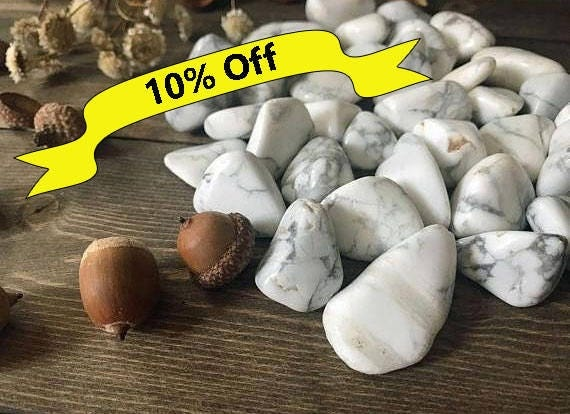 Tumbled White Howlite, Natural White Howlite, White Stone, White Howlite, High Grade, Tumbled Stones, Craft Supplies, Altar Supplies