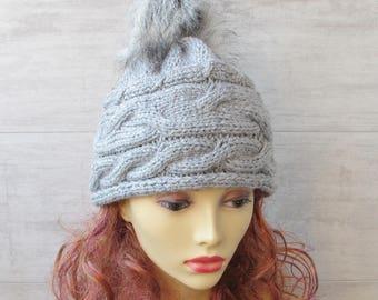 Women's  Beanie Hat with  Vegan Pom Pom, Winter Accessories For Ladies