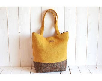 Handbag Tote vegan saffron yellow linen and Cork leather and Brown, soft and sweet fennel, vegan, eco-friendly and ethical.