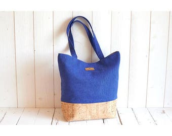 Handbag Tote vegan blue linen klein and Cork natural and silver, flexible and soft leather, vegan, eco-friendly and ethical.