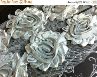 "Summer SALE 10% OFF 2.5"" Shabby Rose Trim-  Shiny/Metallic Flowers - Silver Color- Chiffon Trim - Shabby Trim - Hair Accessories Supplies"