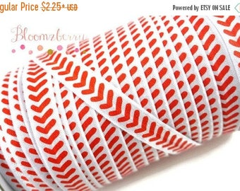 "Summer SALE 10% OFF 5/8"" PRINTED Fold Over Elastic - Red/White Baseball Pattern - Sport/Baseball/Birthday Party/Events/Holidays- Hair Access"