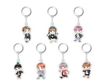 Cute Kpop BTS Bangtan Boys Acrylic BTS Keychain Keyring Pendant Cute Keychain Perfect Gift for fans