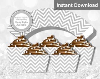 Light Gray (Grey) Chevron Cupcake Wrapper Instant Download, Party Decorations