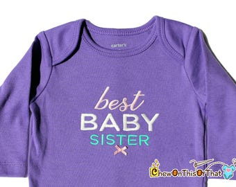 Best Baby Sister Ever Personalized Purple Long Sleeve Onesie, Embroidered Bodysuit, New Baby Sister Gift, New Sibling Shirt, Bodysuit