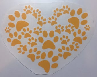 Paw Print Heart Decal
