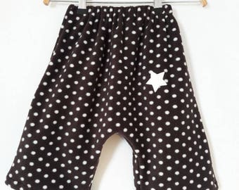 pants 18/24 months in dark brown fleece and white polka dots.