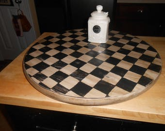 17.5 Inch Checkered Lazy Susan -Farmhouse Wood Lazy Susan-Black and White Lazy Susan-Lazy Susan Server- Lazy Susan Cake Stand